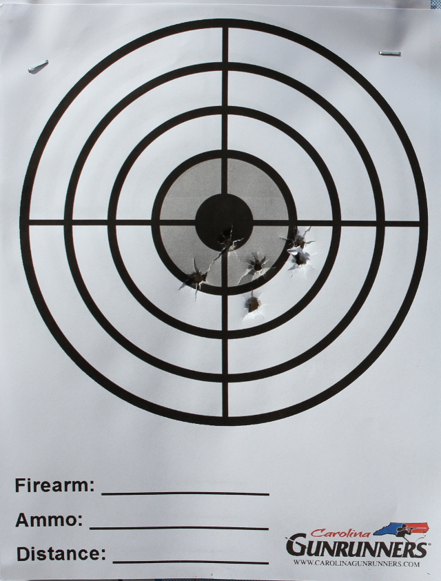 One magazine from the Glock 43 at 10 yards.