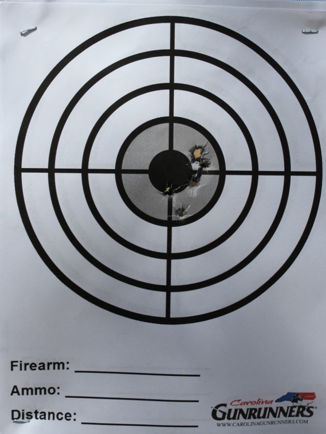 One magazine from the Glock 43 at 7 yards.